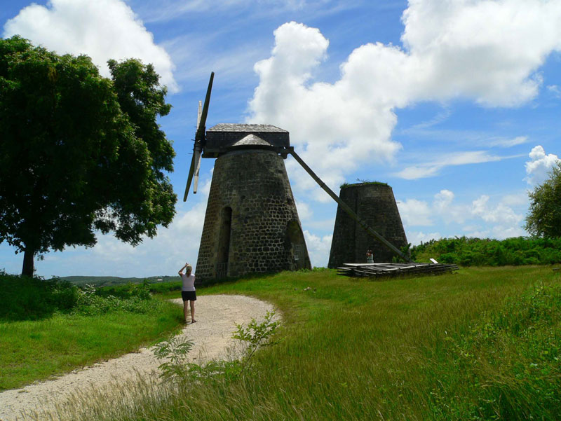 The restored sugar windmill at Betty's Hope on Antigua