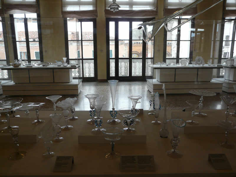 Displays of 16th-century crystal stemware at the Museum of Glass on the Venetian island of Murano